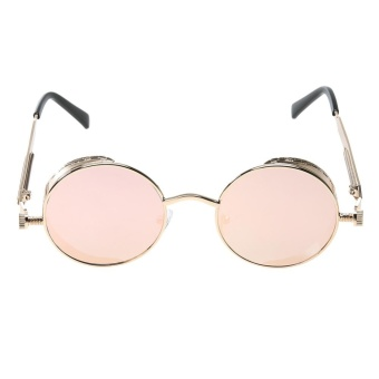Punk Vintage Metal Round Punk Sunglasses (Gold Frame PinkQuicksilver) - intl