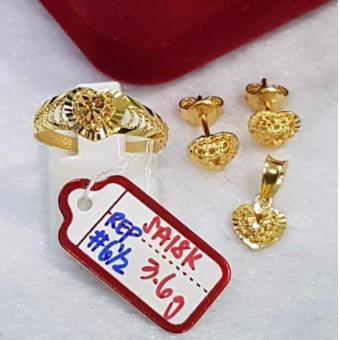 Pure Saudi Gold 18K Jewellery sets Pendant, earrings, ring heart3.6g