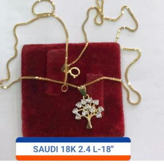 Pure Saudi Gold 18K Necklace Money Tree Pendant 2.4g