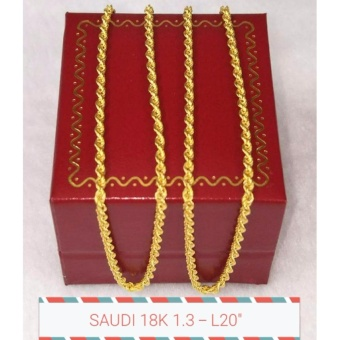 Pure Saudi Gold 18K Necklace Rope Chain 1.3g L-20 inches
