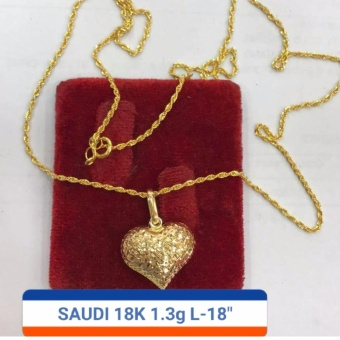 Pure Saudi Gold 18K Necklace with heart Pendant 1.3g L-18inches