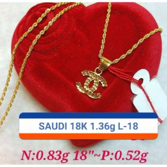 Pure Saudi Gold 18K Necklace with Pendant 1.36g L-18inches