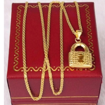 Pure Saudi Gold 18K Necklace with Pendant Padlock design 2.6g L-16inches