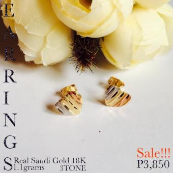 Pure Saudi Gold 18K Real Gold 3Tone Stud Earrings PawnableChristhas collection Online Boutique Shoppe