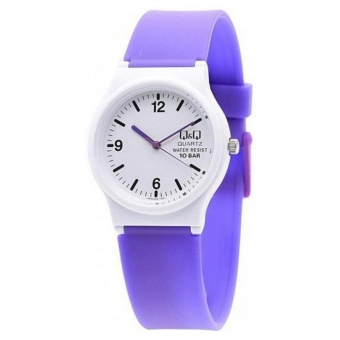 Q&Q by Citizen, QQ VP46J026Y Violet / Purple Rubber Strap White Case, Analog 100-Meter Water Resistant Men's and Women's Watch