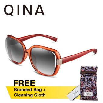 QINA Polarized Women Red Sunglasses Oversize UV 400 Protection Grey Lenses QN3511 - intl