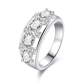R694 Classy Hot Latest Wedding Ring 7 Silver (Intl)