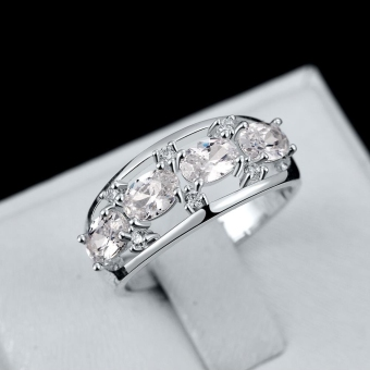 R694 Classy Hot Latest Wedding Ring 7 Silver (Intl) - picture 2