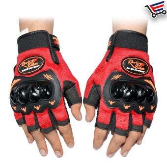 Racing Bike Motorcycle Sports Non Slip Racing Gloves Open Finger -M (Red) Price Philippines