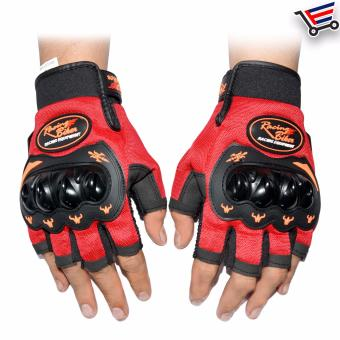 Racing Bike Motorcycle Sports Racing Gloves Half Finger - M (Red)