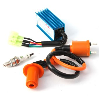 Racing Ignition Coil+Spark Plug+CDI Box For GY6 50cc-150cc 4-Stroke Engines ATV (Multicolor)