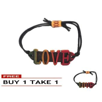 Rasta Color Handmade LOVE Coconut Surfer Style Adjustable Bracelet7g BUY 1 TAKE 1 Price Philippines
