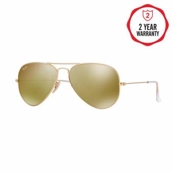 Ray-Ban Sunglasses Aviator Large Metal RB3025 - Matte Gold (112/93)Size 58 Brown Mirror Gold