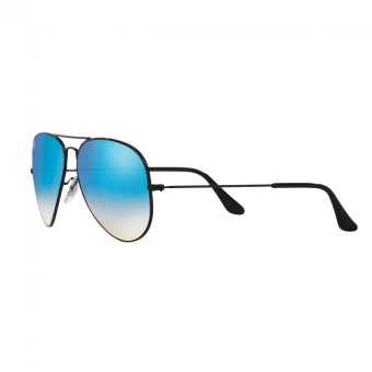 Ray-Ban Sunglasses Aviator Large Metal RB3025 - Shiny Black(002/4O) Size 58 Mirror Gradient Blue - 3