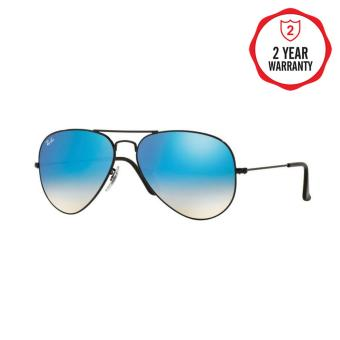 Ray-Ban Sunglasses Aviator Large Metal RB3025 - Shiny Black(002/4O) Size 58 Mirror Gradient Blue