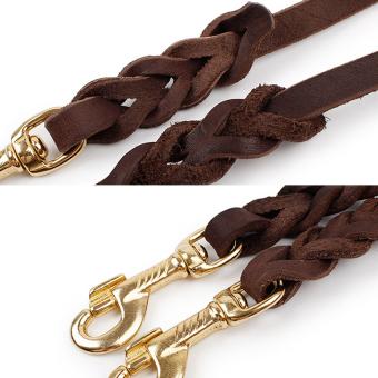 Real Leather Solid Adjustable Dog Walking Training Leash 300cm - 4