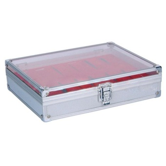 Red 12 Grid Slots Watches Display Storage Box Aluminium Square Organizer - intl