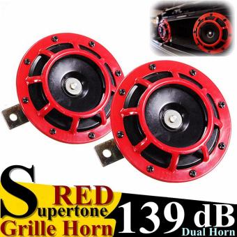 Red 139DB Auto Motor Grilles Super Loud Compact Tone Blast Air Horn Universal