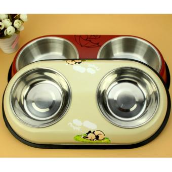 Removable Stainless Duo Bowl Pet Dog Cat Food Bowl Feeding Bowl[Big][Beige]