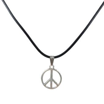 Retro Boho Leather Pendant Necklace Choker Charm Necklace for MenWomen - intl