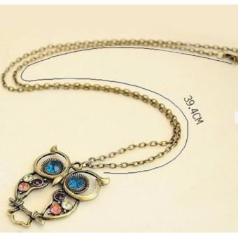 Retro Colorful Rhinestone Owl Pendant and Long Chain Necklace 9g - 4