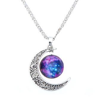 Retro Hollow Moon Crescent Pendant Silver Chain Necklace Jewelry Fashion #10