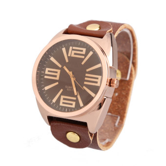 Retro Large Round Dial Faux Leather Wrist Watch