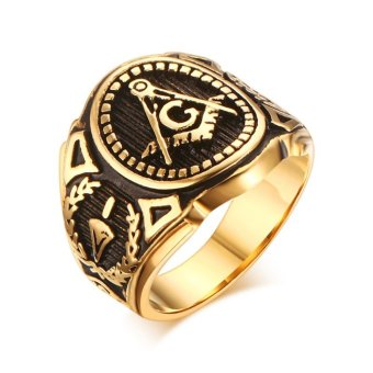 Retro Masonic Ring 18K Gold Plated Stainless Steel Mens Jewelry Size:8-11 - intl