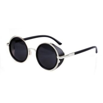 Retro Vintage Style Mirror Lens Round Glasses Cyber Goggles Steampunk Sunglasses Black - intl