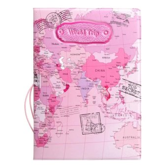 RHS Leather World Map Passport Holder Organizer Travel Card CaseDocument Cover(Pink) - intl