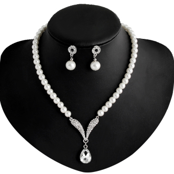 Rich Long Imitation Pearl Necklace & Earrings Jewelry Sets ForWomen's Vintage Wedding Party