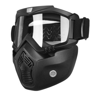 Riding Detachable Modular Face Mask Shield Goggles For Motorcycle Helmet - intl