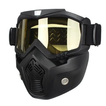 Riding Detachable Modular Face Mask Shield Goggles For Motorcycle Helmet Yellow - intl