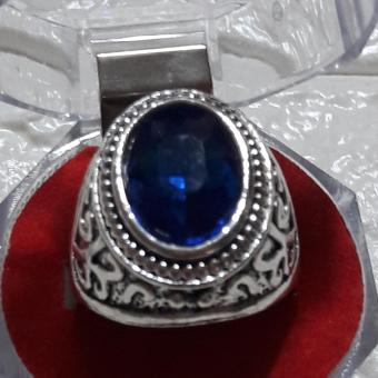 Ring with Charm stone SAPPHIRE size 10 hypoallergenic