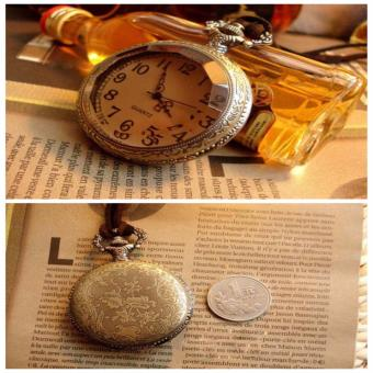 Rising Star Brown Glass Retro Pocket Watch Velvet Rope NecklaceSweater Chain X0363 - 5