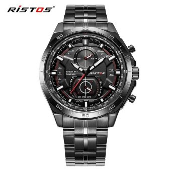 RISTOS Mens Unique Analog Quartz Waterproof Business Casual Stainless Steel Band Dress Wrist Watch with 30M Water Resistant - 9325 - intl