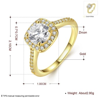ROBBIE Jewelry Gold/Rose Gold/Silver Color Women Fashion Ring CubicZirconia Lovely Promise Engagement Ring - intl - 3