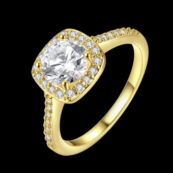 ROBBIE Jewelry Gold/Rose Gold/Silver Color Women Fashion Ring CubicZirconia Lovely Promise Engagement Ring - intl - 2