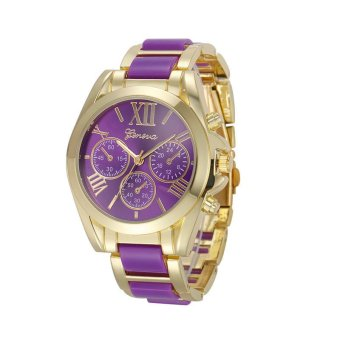 Roman Numeral Gold Plated Metal/Nylon Link Watch (Purple)