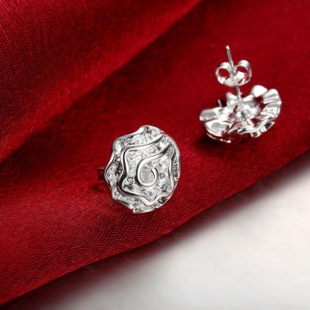 Rose Flower Fashion 925 Silver Plated Women Stud Earrings Eardrop anting - anting Jewelry Romantic Party Wedding Birthday Gift - intl - 2
