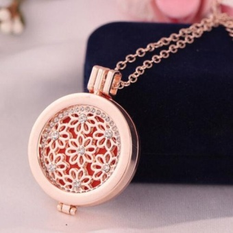 Rose Gold Crystal Locket Rhinestone Oil Aromatherapy DiffuserPendant Necklace - intl