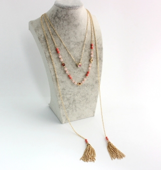 Rose quartz beads multi-cool necklace