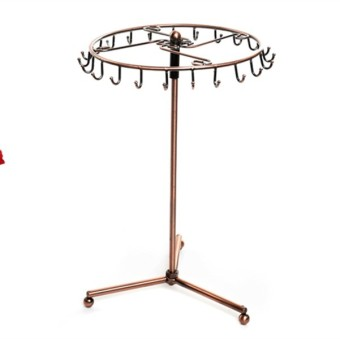 Rotating Copper Color Metal Necklace Bracelet Holder Jewelry Display Stand - picture 2