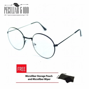 Round Eyeglasses Black_2944 Replaceable Lens with Thin Metallic Frame Unisex Computer Eyeglasses Anti Radiation