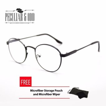 Round Glasses Vintage Slim Metal Black Unisex Premium Edition RG_016Black Optical Frame Replaceable Lens - Unisex