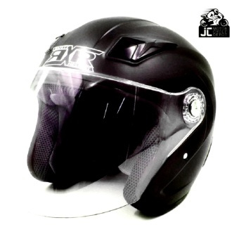 RXR 007 Open Face Motorcycle Helmet (Flash Black)