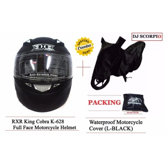 RXR King Cobra K-628 Full Face Motorcycle Helmet with FreeWaterproof Motorcycle Cover (L-BLACK)