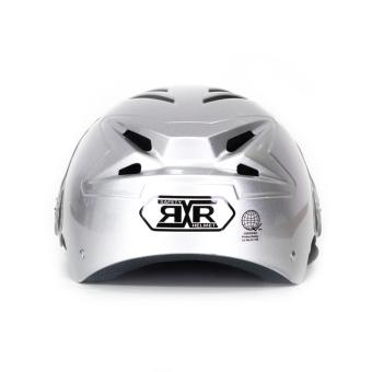 RXR R-066D Open /Half Face- Safety and Protective Head GearMotorcycle Helmet (Silver) - 3