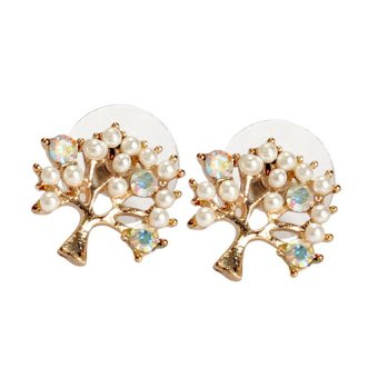 S & F Elegant Women Rhinestone Pearl Pierced Christmas Tree Earrings Ear Stud - Intl