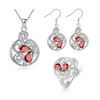 S113-B Chic 925 Round Silver Plated Earrings Ring Necklace Jewelry Sets (Intl) - picture 2